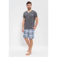 Комплект 2-хпредметный с шортами серый, серо-голубой